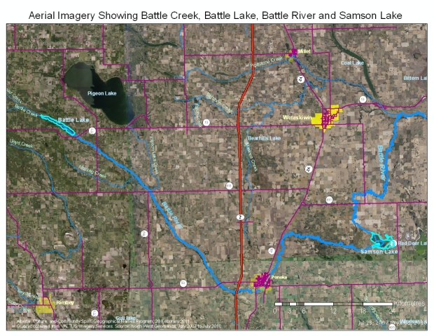 Aerial Imagery Showing Battle Creek, Battle Lake, Battle River and Samson Lake