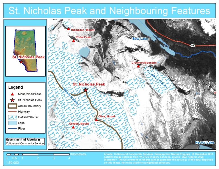 St. Nicholas Peak, Satellite Image