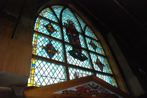 (Photo DSC_4871.jpg) Interior view of the west-facing stained glass window. Historic Resources Management Branch, 2009
