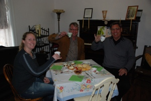 Enjoying tea and scones! (L-R: Leah Millar, AHRF board member; Larry Pearson, Director of Historic Places Stewardship Section; and Tom Clark, AHRF board member)