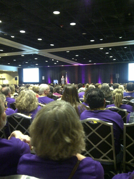 Some purple-shirted Wyoming Main Street leaders, listening to the keynote presentation.