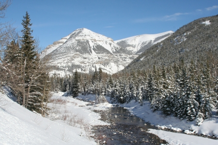 A photo of Cameron Creek, formerly known as Oil Creek, flows through the rugged terrain of Waterton Lakes National Park. Western Canada's first oil well was located alongside this creek.