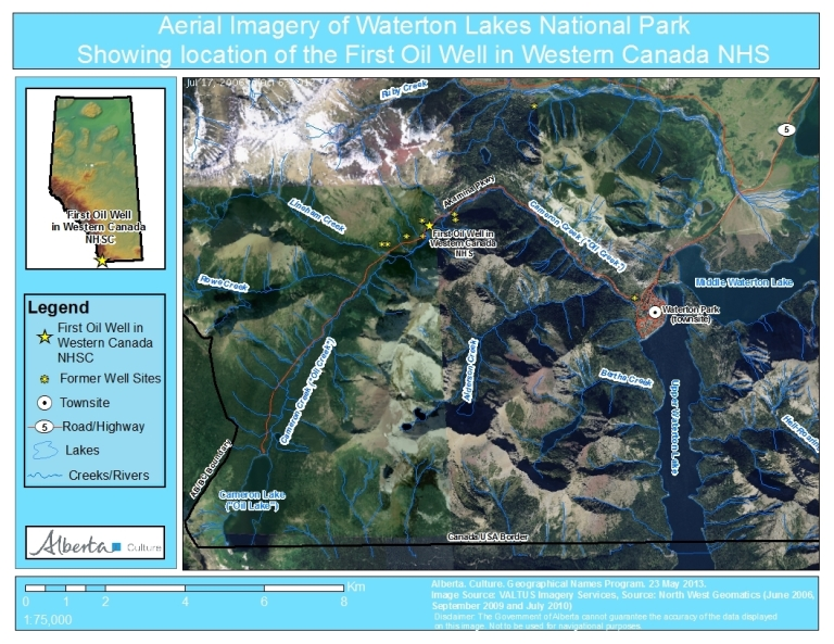 Aerial Imagery of Waterton Lakes National Park, showing the locations of the Cameron Lake (formerly Oil Lake) Cameron Creek (formerly Oil Creek) and the First Oil Well in Western Canada National Historic Site of Canada.