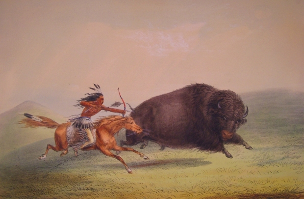 A painting by George Catlin from the 1800s of life on the Canadian Plains (reproduced with permission from the Bruce Peel Special Collections Library, University of Alberta).