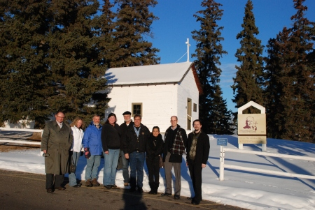 Members of the AHRF Board and Alberta Culture Staff outside of the Father Lacombe Chapel, St. Albert.