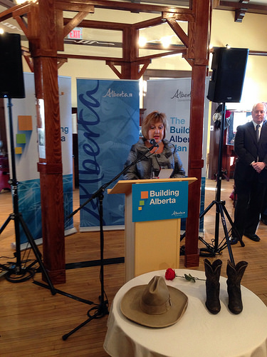 Minister of Culture, Heather Klimchuk, announces funding for flood-impacted historic resources.