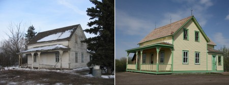 Two images contrasting the Hewko House at the Ukrainian Cultural Heritage Village before and after its restoration.