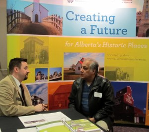 Matthew Francis, Manager of Municipal Heritage Services talks with an owner of a Municipal Historic Resource.