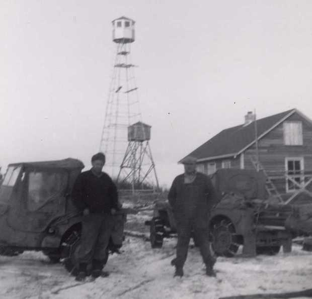 The new steel tower at House Mountain, 1953. (Photo courtesy of Alberta Sustainable Resource Development.)