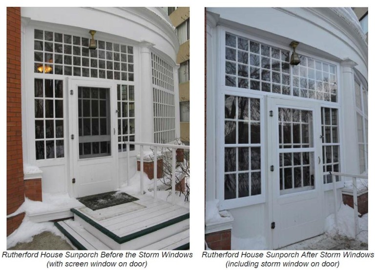 Images Showing the Rutherford House Sunporch before and after storm windows were added.