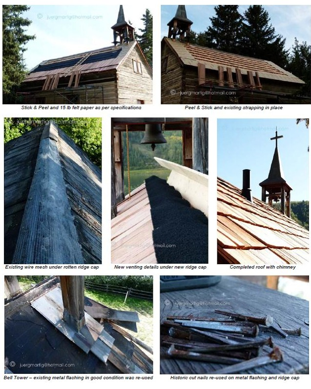 Images showing different aspects of the St. Charles Mission re-roofing at Historic Dunvegan.