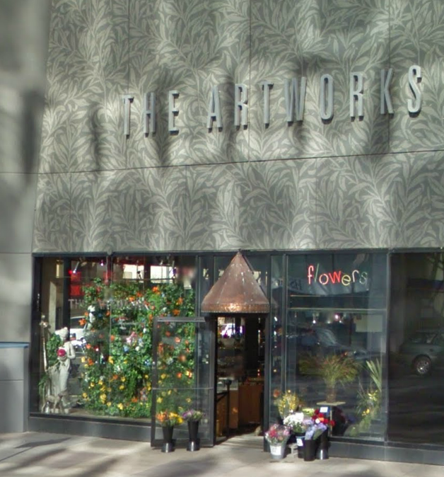 The Artworks in Edmonton is known for its creative window displays. © Google Streetview