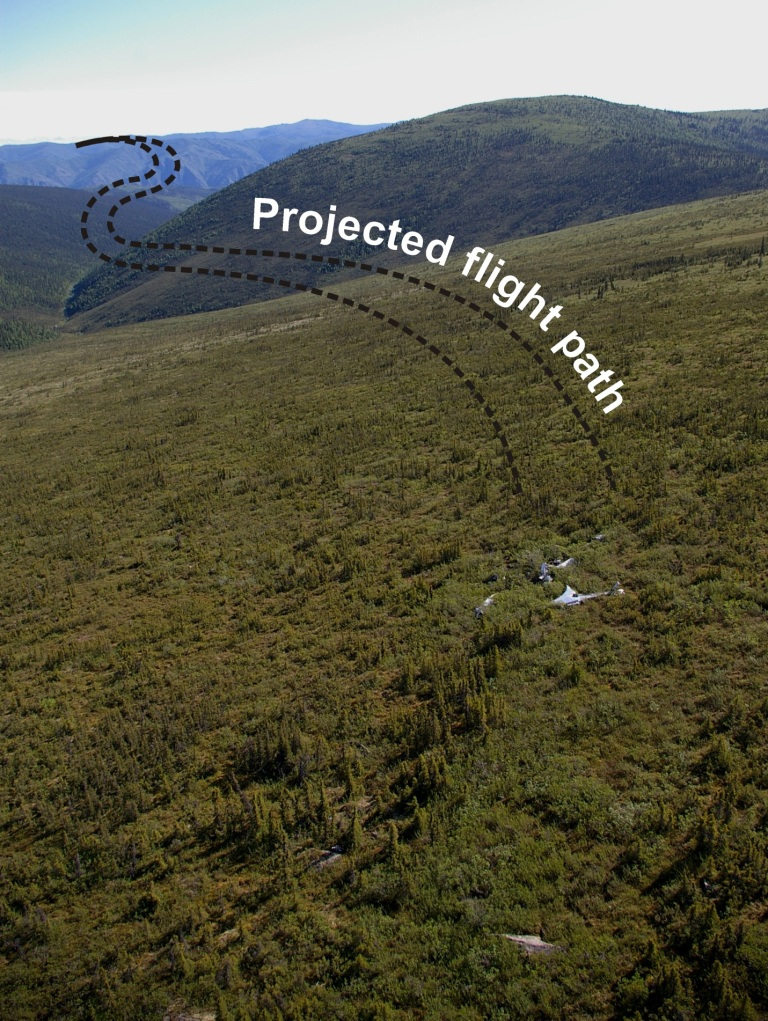 Reconstructed flight path of the SB-17G to its final resting spot (photo T. Kristensen).