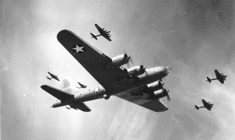 B-17F flying fortress formation in WWII (photo credit 050615-F-1234P-006.jpg, National Museum of the US Air Force).