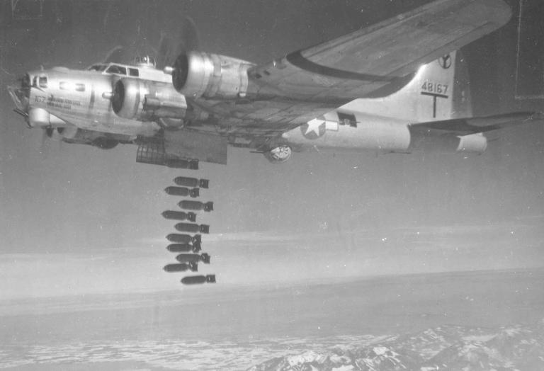 B-17G-50-VE (S/N 44-8167) during in-flight high altitude bomb drop in WWII (photo credit 050610-F-1234P-011.jpg, National Museum of the US Air Force).