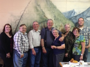 Participants in the Sexsmith Heritage Inventory Project (From left to right): Chelsea Dunk (Donald Luxton & Associates Inc.), James Obniawka (HAB), David Olson (resident), Larry Anderson (HAB), Vella Anderson (HAB), Carolyn Gaunt (Town of Sexsmith), Jean Rycroft, Sam Boisvert (Donald Luxton & Associates Inc.). Missing from photo: Grant Berg, Isak Skjaveland