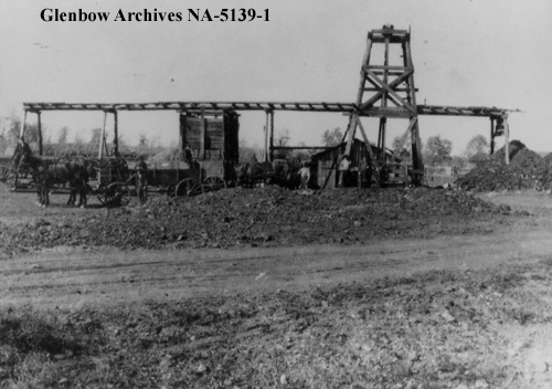 "Addison McPherson's ""Black Diamond"" coal mine, ca. 1913-1916. The local post office and the community it served were named for this coal mine. (Glenbow Archives, NA-5139-1.)"