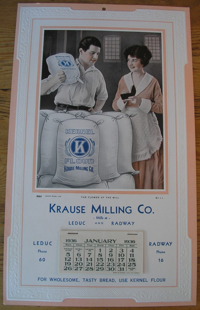 Withold Krause promoted Kernel brand as just as good as the purest of white flours produced by the large milling companies. (Image courtesy of the Radway and Area Historical Archives Association Archives.)