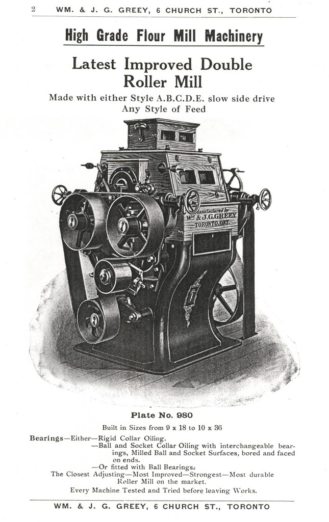 Roller mills of the type used in the Radway Mill. (Image courtesy of the Radway and Area Historical Archives Association Archives.)