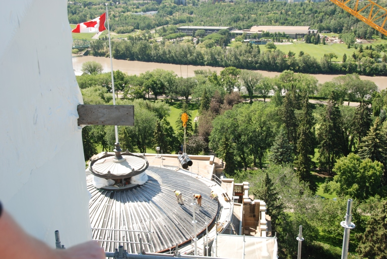 The Alberta Legislature Building's dome being restored (2013).