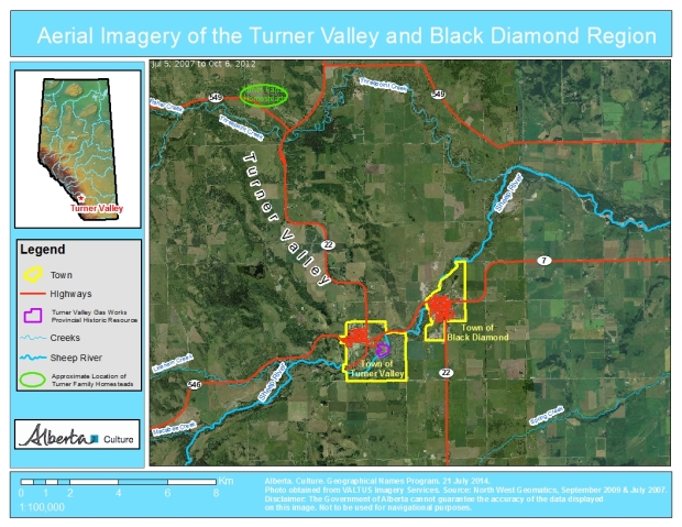 Turner Valley oil and Gas Names (Map)