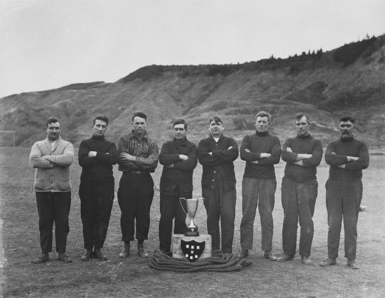 From the outset, sports were an important part of Labour Day celebrations. These miners pose with their trophy after winning the Labour Day Tug-of-War in Drumheller (ca. 1920). Courtesy of the Provincial Archives of Alberta, A15048.