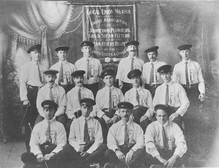 Local 488 of the United Association of Plumbers and Pipefitters, Edmonton (1904). This portrait illustrates the images that craft unions wanted to project to the public during Labour Day parades – well dressed, respectable and dignified. Courtesy of the Provincial Archives of Alberta, A19670.