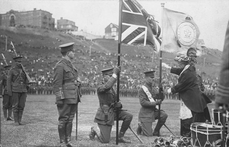 Presentation of Colours to the 51st Battalion, Canadian Expeditionary Force in Edmonton, Alberta, ca. 1915 (Provincial Archives of Alberta, A2526)