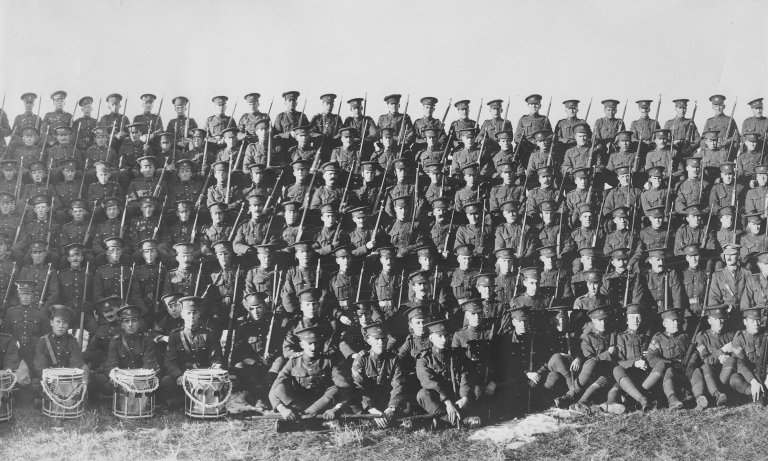 Group photo of the 187th Regiment, Canadian Expeditionary Force from Stettler, Alberta. November 18, 1916 (Provincial Archives of Alberta, A5037b)