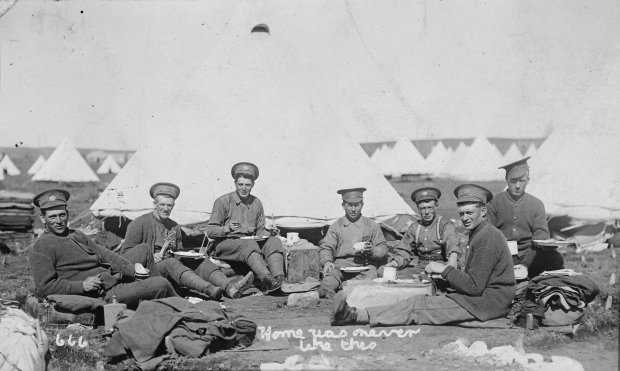 Len Foster and other soldiers overseas during the First World War, ca. 1916 (Provincial Archives of Alberta, A6741)