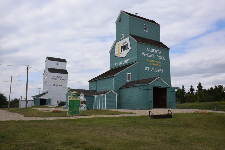 St. Albert Grain Elevators, before and after restoration