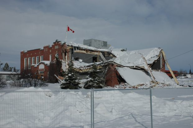 Grande Prairie High School, with collapsed roof