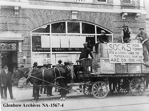 Wagon loaded with socks for soldiers in Calgary, Alberta, ca.1916. (Glenbow Archives, NA-1567-4)