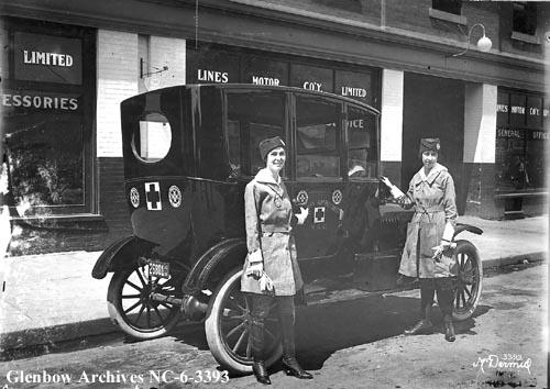St. John Ambulance Voluntary Aid Detachment vehicle, Edmonton, Alberta, 1918. (Glenbow Archives, NC-6-3393)