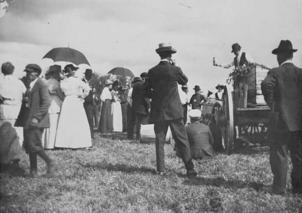 Crowd gathered for Patriotic Day and Red Cross sale at Two Hills, auction at Fred Schoff Store to raise funds for WW I, 1917. (Provincial Archives of Alberta, A10676)