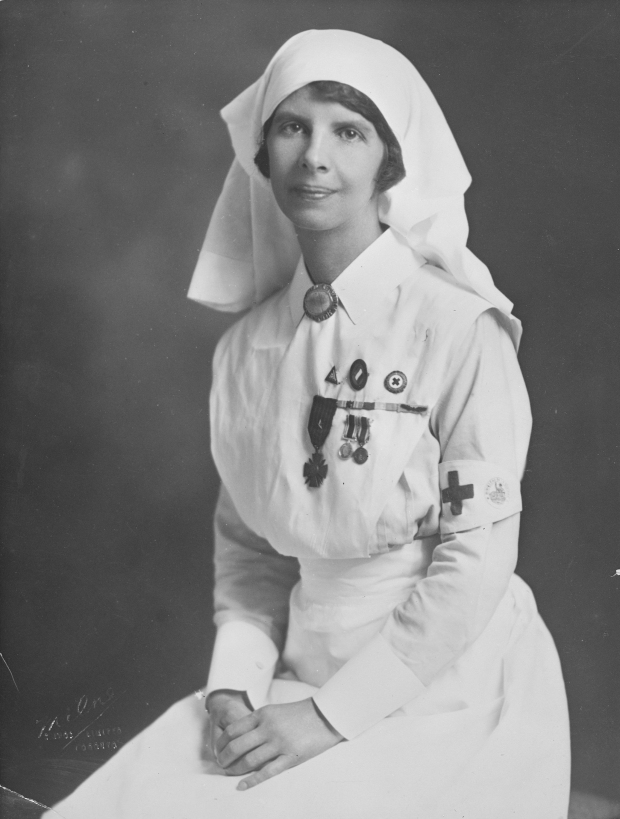 Formal portrait of Madeleine Jaffray in nurses' uniform, ca. 1919. (Provincial Archives of Alberta, A14050)