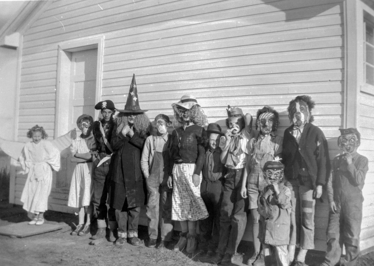 Trick-or-treating near Little Smokey River (ca. 1950). Courtesy of the Provincial Archives of Alberta, A15910.