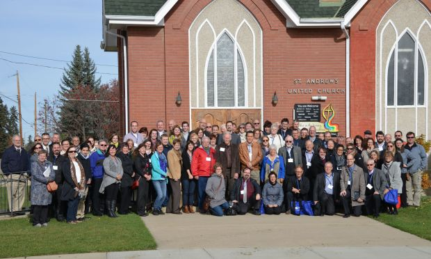 Forum attendees in front of Lacombe's first Municipal Heritage Resource, St. Andrew's United Church