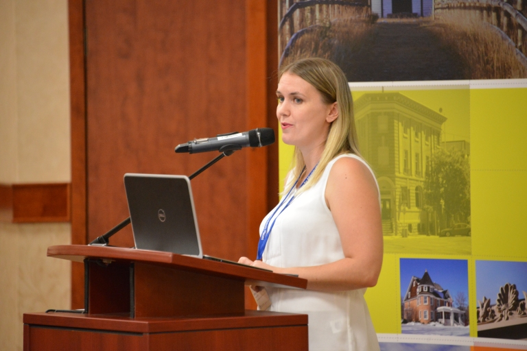 Kayla Jonas-Galvin speaking to the delegates at Municipal Heritage Forum. (October 16, 2014)