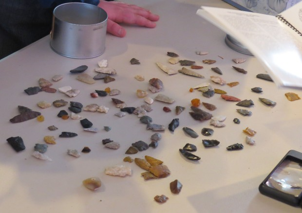 "Artifacts brought into a ""Stones and Bones"" event hosted by the Lethbridge chapter of the ASA, March 2014. Photo courtesy of John Easton."