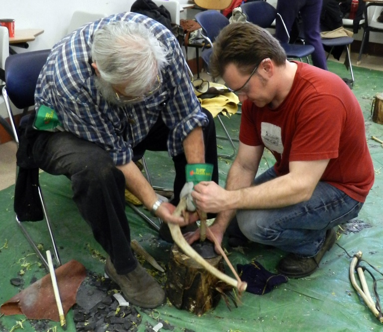 Members of the Strathcona society making their own stone tools at the March 2014 flintknapping workshop. Photo courtesy of Kurtis Blaikie-Birkigt.
