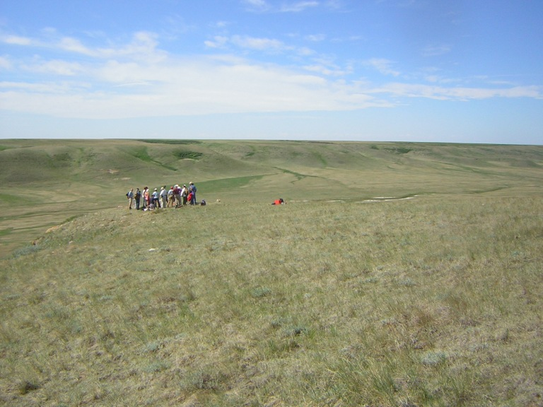 Members of the Southeastern centre on a field trip to an effigy site in southern Alberta. Photo courtesy of Janice Andreas.