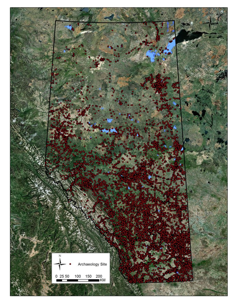 Distribution of archaeology sites in Alberta, December 2014.