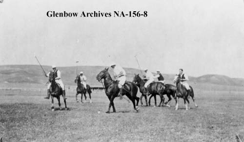 Polo game, Cochrane, Alberta - Millarville versus Cochrane, ca. 1900-1903 (Glenbow Archives, NA-156-8).