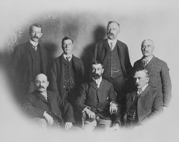 Alberta Association of Architects, ca. 1906.   Back row: Hopkins, R. P. Barnes, J. Wise, H. D. Johnson, Front row: A. Magoon, F. X. Deggen-Dorfer, A. Pirie.  (Provincial Archives of Alberta, A1998).