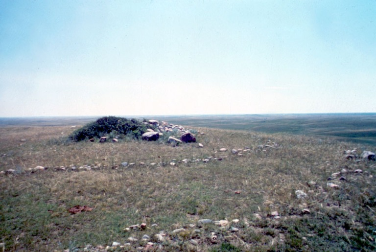 Medicine Wheel with outer rings and a central cairn. Photo credit: Royal Alberta Museum.