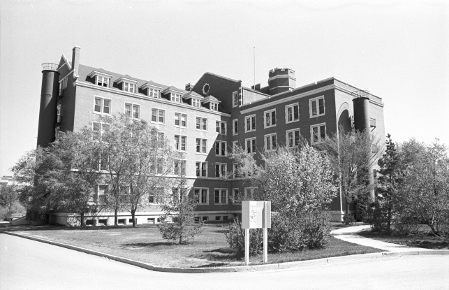 Old St. Stephen's College, 1971 (Historic Resources Management Branch, 71-R0001-29).  The tubed fire escapes on the wings of the building were installed in 1920.