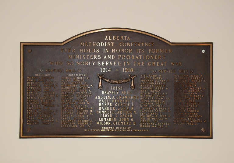 Commemorative plaque in the Old St. Stephen's chapel, 2014 (Photo by Erin Hoar).