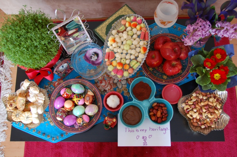 Haft Seen - The traditional table setting for Norooz which includes seven symbolic items starting with the letter 'S' or 'Seen' in the Persian alphabet (Photo by Alireza Farrokhi).