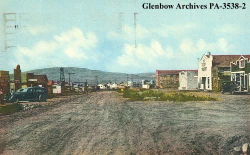 "Longview, Alberta  1940-1945. The community was known as ""Little New York"" following a 1936 oil discovery in Turner Valley. It was likely a sarcastic reference to the frantic pace of development at the town site. (Glenbow Archives, PA-3538-2)."